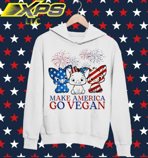 Pig Make America go vegan Happy 4th of July hoodie