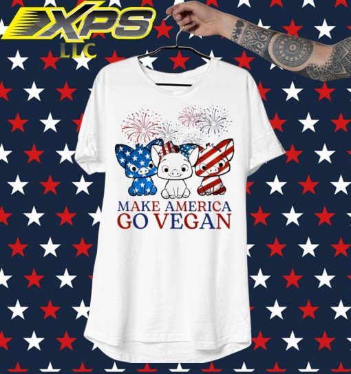 Pig Make America go vegan Happy 4th of July shirt