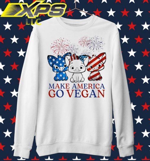 Pig Make America go vegan Happy 4th of July sweater